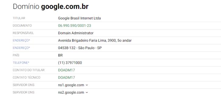 Resultado da consulta Whois para o domínio google.com.br