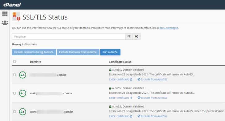Tela do cPanel com o status de instalação do SSL para todos os domínios e subdomínios presentes no servidor