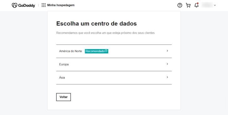 Ao configurar um site na GoDaddy, é necessário escolher um data center para hospedá-lo