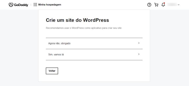 Ao criar um novo site no painel, pode-se optar pela instalação do WordPress