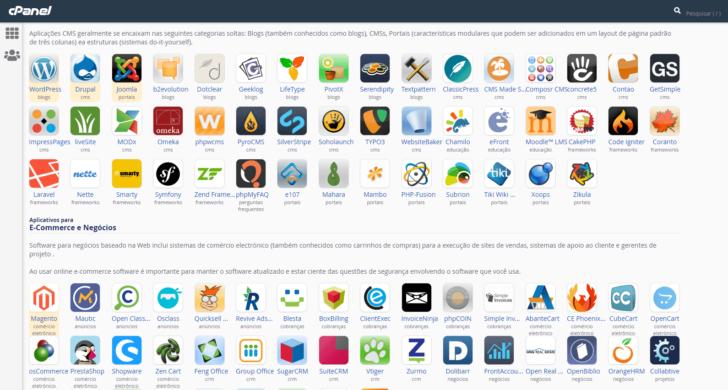 Visão parcial de alguns dos aplicativos disponíveis para instalação na hospedagem GoDaddy