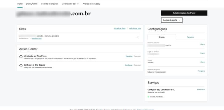 Página de administração da hospedagem no painel do cliente GoDaddy
