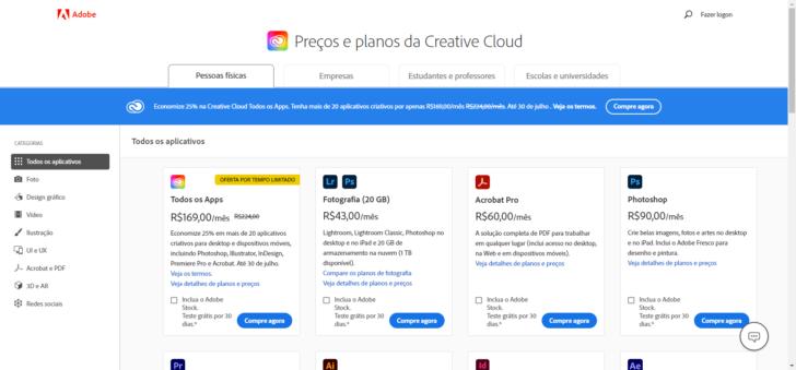 Página de planos e preços da Adobe Creative Cloud no site da Adobe.