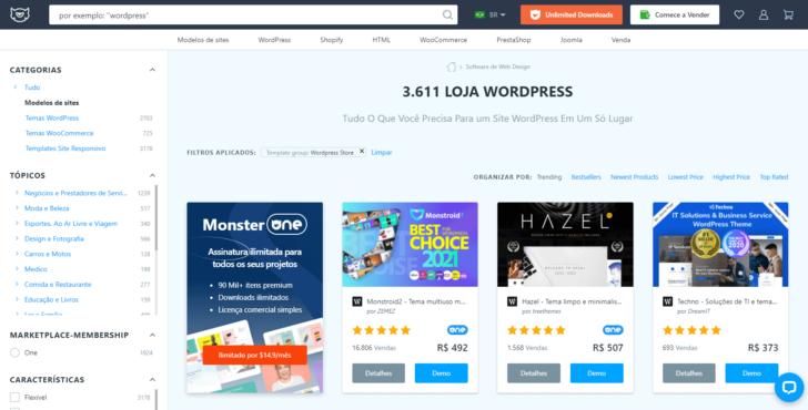 Loja WordPress no site da TemplateMonster