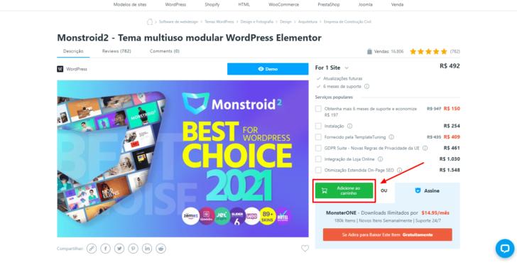 Página do tema Monstroid2 no site TemplateMonster