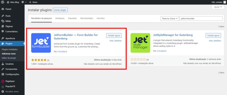 A instalação do JetFormBuilder pode ser feita por dentro do painel do WordPress