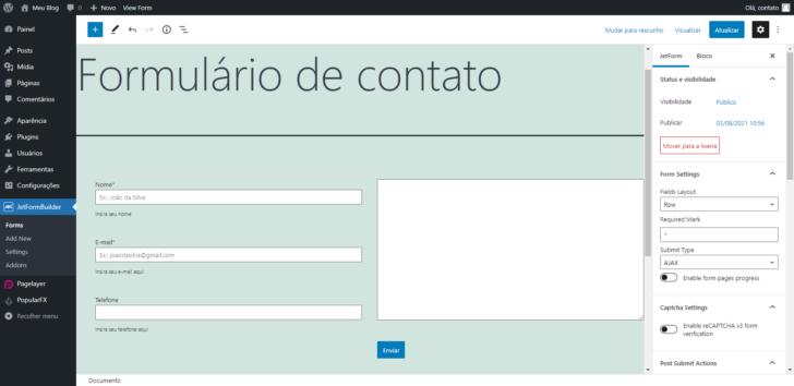 Exemplo de formulário em duas colunas, combinando os recursos do próprio Gutenberg com o JetFormBuilder