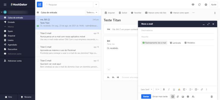 A interface do e-mail profissional HostGator é limpa, mas cheia de recursos