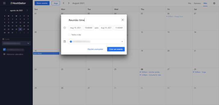 A agenda pode ser acessada a partir do webmail ou dos apps disponíveis