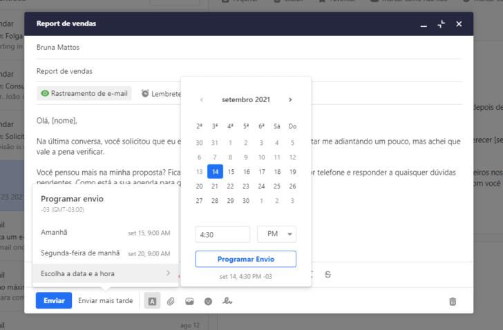 Os e-mails podem ser enviados imediatamente ou programados para uma data no futuro