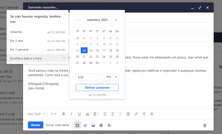 Após enviar um e-mail, é possível criar um aviso para verificar se houve uma resposta