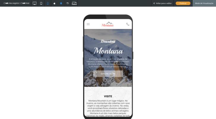 Visualização mobile do site no sistema Android