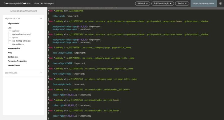 Exemplo de edição no modo desenvolvedor