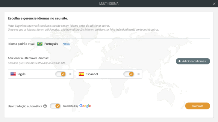 Gerenciador de idiomas do Criador de Sites UOL