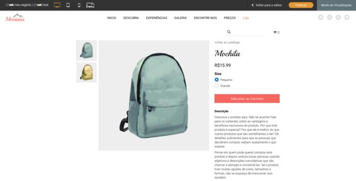 Exemplo de página de produto disponível no criador de sites UOL