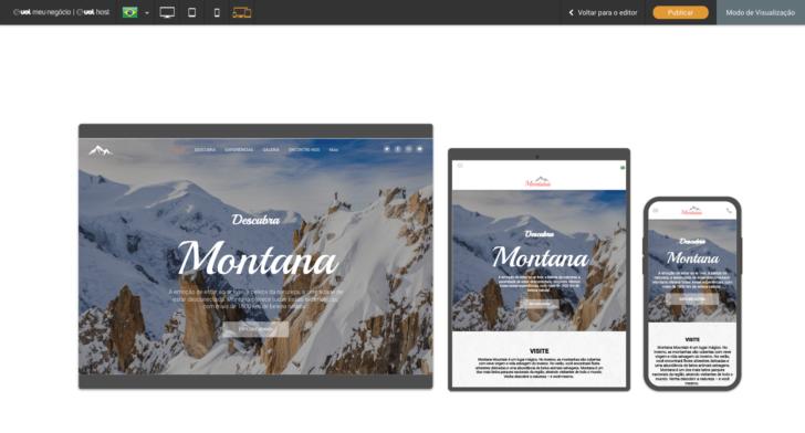 Tema em diferentes telas: desktop, tablet e celular